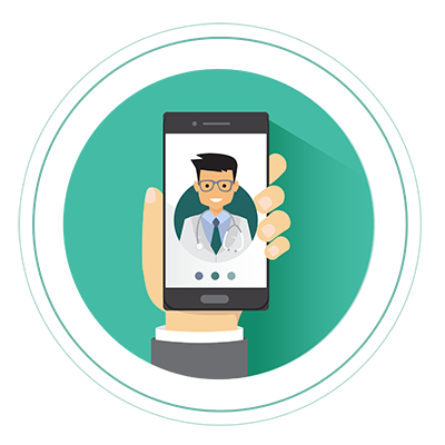 Doctor on phone held in hand icon