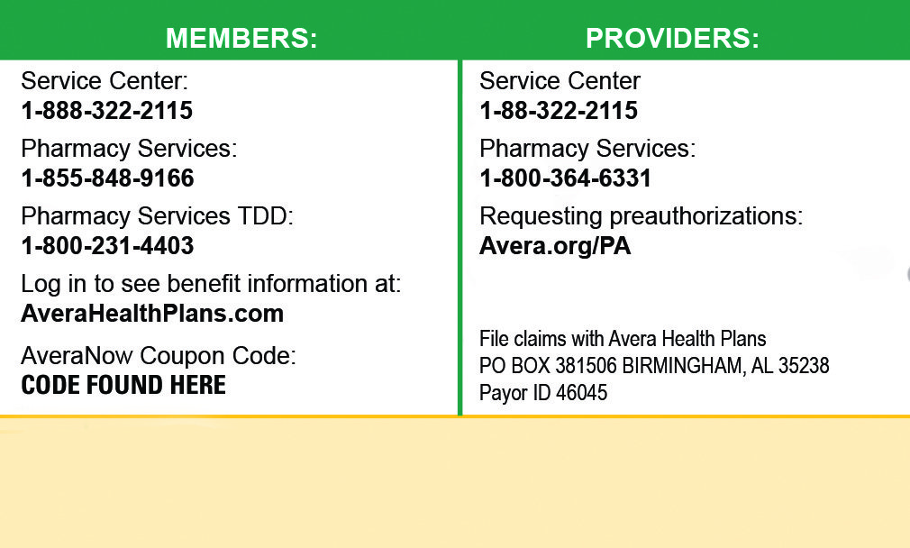 2018 Avera Health Plans Member Card Back View